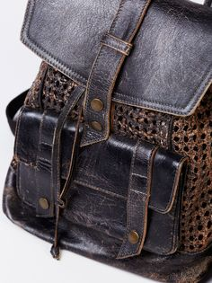 Naples Woven Backpack | Distressed, rugged and worn-in woven ...