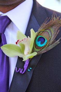 Flowers, White, Green, Purple, Ceremony, Blue, Inspiration board, Peacock, Boutineer
