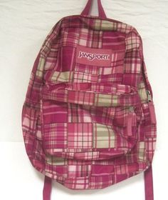 Jansport Backpack School Bag Book bag PINK Geometric Plaid Design $23.99