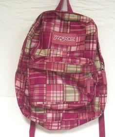 Jansport Backpack School Bag Book bag PINK Geometric Plaid Design $23.99