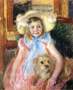 Sara in a Large Flowered Hat Looking Right Holding Her Dog, 1902  Mary Cassatt