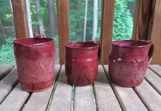Amaco Chum Plum over Deep Firebrick Red. 14oz Mug or 16oz Creamer $54 - $59  Pottery is my craft, but the Glazing is my Art. The Potter's Wheel, Raw Materials, Moscow Mule Mugs, Safe Food, Stoneware, Glaze, Plum, Planter Pots, My Arts