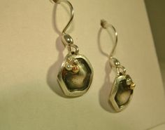 Sterling Silver & Gold Honeycomb Dangle Earrings by MarlasJewelry, $55.00
