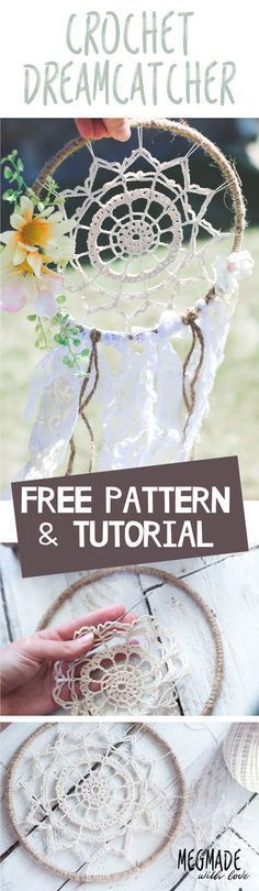 This doily dream catcher is such an awesome boho crochet pattern! I love DIY home decor ideas like this that are easy to make. Free pattern!
