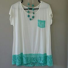 PRICE DROP! SELFEE Tunic!  White Tunic with Aqua Lace Pocket and Bottom SELFEE  Tops Tunics