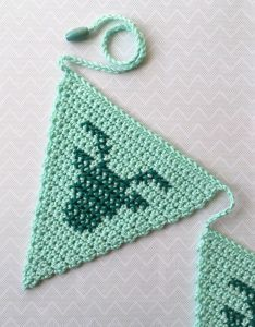 maRRose - CCC --- Crocheted bunting with cross stitched deer