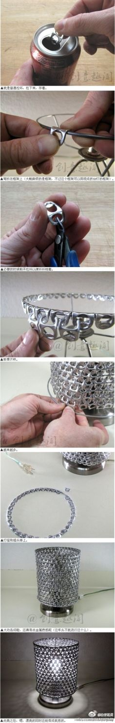 I don't drink enough canned beverages to do this but it's a neat idea. - This would be a cool lamp for Kyle's Man Cave