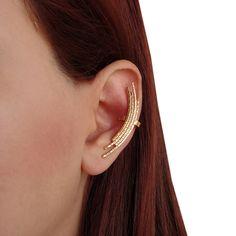 Ear cuff & ear climber, pair of dismatched earrings, gold or rose gold sterling silver earcuff earrings, minimalist ear cuff and ear crawler by emmanuelaGR on Etsy https://www.etsy.com/listing/115911071/ear-cuff-ear-climber-pair-of-dismatched