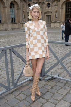 Elena Perminova in Louis Vuitton during PFW