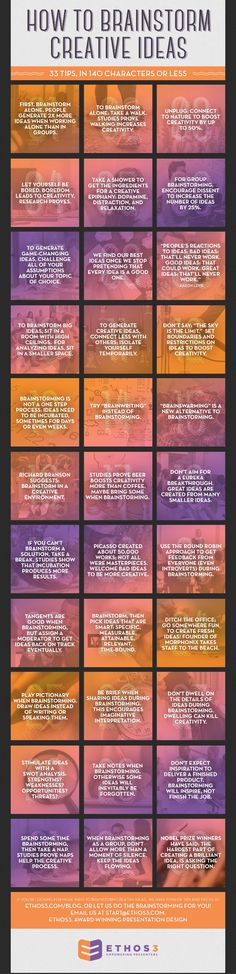 33 Tips How to brainstorm creative ideas #INFOGRAFIA #INFOGRAPHIC