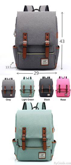 Which color do you like? Vintage Travel Backpack Leisure Canvas With Leather Backpack&Schoolbag #vintage #travel #Leather #bag #backpack #school #bag