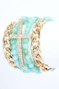 Cross Multistrand Bracelet - Teal: Abella Boutique