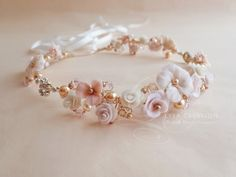 Bridal Boho Floral Crystal Wreath, Ivory Pink #BridalHeadband