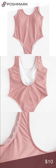 Pink One Piece Swimsuit Blush Pink Swimsuit (One Piece)  (not used) ROMWE Swim One Pieces