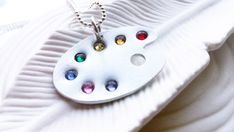 Artist's Palette Necklace - Swarovski Crystal Elements Artist's Paint Palette Jewelry - Personalized Jewelry - Gift for Artist or Painter
