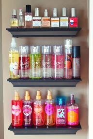 Use crown molding as shelves to store and display perfume bottles, lotions, etc in the bathroom. Brilliant! #DIY