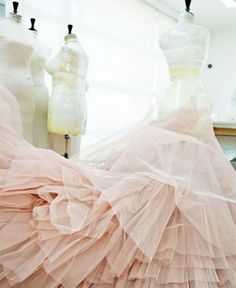 A couture gown under construction in Elie Saab's Beirut atelier, 2011.