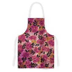 Kess InHouse Ebi Emporium 'Grunge Flowers II' Pink Floral Artistic Apron