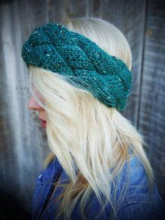 Knitted Headband-The Kera Headband - Ear Warmer - In Emerald