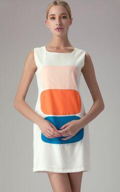 White Sleeveless Contrast Panel Round Neck Dress