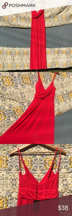 "Red Summer Maxi Dress This dress is perfect for summer events. You can keep it casually or dressy depending on the accessories that you use! The straps are adjustable, and the bust is double-lined so you can wear it with or without a bra. I am 5'10"" and can wear it with flats or a low heel comfortably. Got it as a gift, so the tags are still on! Tart Dresses Maxi"