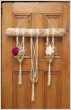#Macrame Triple #Plant Hanger on Driftwood by #fallandFOUND on Etsy