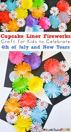 Cupcake Liner Fireworks Craft for Kids: Make colorful fireworks that seem to burst off the page using cupcake liners for an easy Patriotic Craft for the Fourth of July or New Years Day (easy kids craft, summer, scissor skills) kids' crafts New Year's Crafts, Easy Crafts For Kids, Toddler Crafts, Preschool Crafts, Projects For Kids, Craft Projects, Chinese New Year Crafts For Kids, Bonfire Crafts For Kids, Crafts