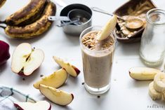 This Peanut Butter Apple Pie Lactation Smoothie Recipe not only tastes good, but works to help get the calories needed in a simple lactation boosting recipe. Lactation Boosting Foods, Lactation Smoothie, Lactation Recipes, Peach Smoothie Recipes, Apple Pie Smoothie, Protein Smoothie Recipes, Breastfeeding Smoothie, Breastfeeding Foods, Strawberry Oatmeal