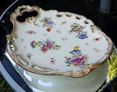 Antique Pottery : An attractive shaped hand coloured Serving Dish - French