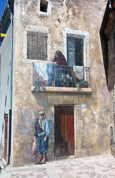 Incredible mural in Cossoine, Sardegna, Italy, created by Angelo Pilloni Street Wall Art, Urban Street Art, Murals Street Art, Best Street Art, Amazing Street Art, Street Art Graffiti, Urban Art, Yarn Bombing, Paint Photography