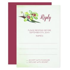 Green Orchids Floral Wedding Stickers floral style flower
