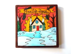 """Sticks Furniture 7"""" hand-painted plaque. Available at Good Goods in Saugatuck, Michigan"""