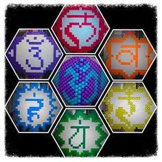 All 7 chakras. 6 are all in one necklace and the the is my mask. Had fun doing this :D I'll have pics of it being worn soon. Hama Beads Patterns, Beading Patterns, 7 Chakras, Chakra Healing, Kandi, Perler Beads, Plexus Products, Unity, Projects To Try