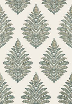 PALAMPORE LEAF, Robin's Egg and Beige, AT78723, Collection Palampore from Anna French