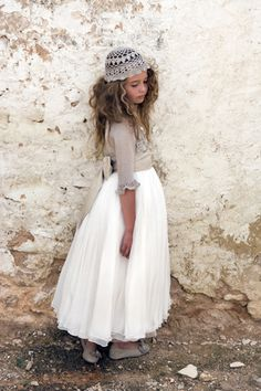 Love the dress, replace the cap with a crown of white roses as I did for my daughters communion, pure perfection!