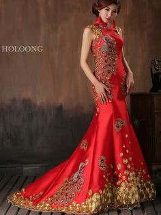 Package hip dress Flowers Improve Vintage Lace-Up Long cheongsams dress Qipao… Red Chinese Dress, Chinese Gown, Cheongsam Wedding, Cheongsam Dress, Asian Wedding Dress, Wedding Dresses For Sale, Trendy Dresses, Fashion Dresses, Long Sleeve Evening Gowns