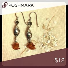 """Silver Amber Spiral Earrings and Necklace Silver Spiral earrings with Amber beads. 1 1/4"""" long. Amber beaded necklace. 17"""". Jewelry Earrings"""