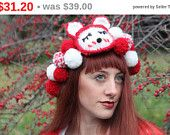 Christmast Sale Ear Warmer , Knit head band , Knit Cat & Fox Head band , Crochet Earl Warmer , Winter Gift ,