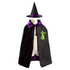 Cute Dinosaur Halloween Costumes Witch Cape and Hat for Kids Cosplay Party Cloak for Boys Girls ** Check this awesome product by going to the link at the image. #DressUpandPretendPlay