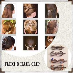 """Flexi 8 Clip 2 for $15NWOT Estimate amount of hair being clipped and consider hair style you desire. X-SMALL 2 3/4"""" For very fine hair and to do styles like ponytail and tails up. Works for most women's half up. SMALL 3 1/4"""" most common size for ponytail with fine hair. Thick hair that use a medium or large for a ponytail will use small for a half up. Comment size and number order for purchase and I will make a listing for you! Comes with instruction sheet. All sales final. See 2nd listing…"""