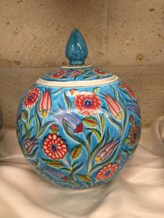 TURKISH CERAMIC WATERMELON VASE - ROUND JAR -20 cm