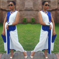 white and blue dress Star Fashion, Womens Fashion, Blue Dresses, Summer Dresses, African Clothes, Women's Fashion Dresses, African Fashion, Black Women, Swag