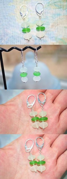 Beach Glass - Surf-Tumbled 41221: Sea Glass Jewelry Beach Earrings Seafoam Green White Sterling Leverback 8807C -> BUY IT NOW ONLY: $34.99 on eBay!