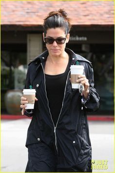 Sandra Bullock grabs a coffee for herself and one for Hot Pepper Dave.