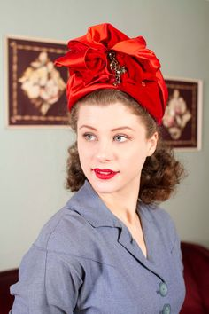 e161049affd Vintage 1960s does 1940s Turban - Bright Red Velvet and Satin Ruched 60s  does 40s Cocktail
