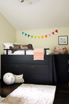 Modern Farmhouse Kid's Bed With Drawers - A custom bunk with built-in drawers and an extra pullout bed will work easily in a teen room too — and provides plenty of sleepover space in the meantime. Tip: Big box stores like Ikea carry beds with built-in storage.