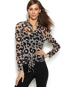 INC International Concepts Petite Leopard-Print Tie-Front Blouse