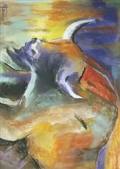 bull with soft pastel