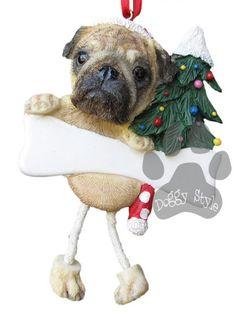 Dangling Leg Pug Christmas Ornament http://doggystylegifts.com/products/dangling-leg-pug-christmas-ornament