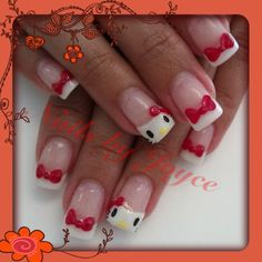Hello kitty nails 3-D nail art 3-D bows